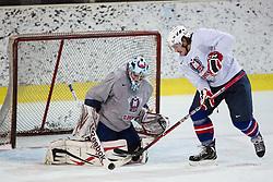 Andrej Hocevar and Gasper Kopitar at first practice of Slovenian National Ice Hockey team before EIHC tournament in Ljubljana, on November 5, 2012 in Ledena dvorana Bled, Bled, Slovenia. (Photo by Matic Klansek Velej / Sportida.com)