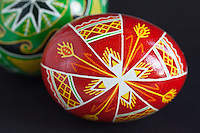 Closeup of traditional, Pysanky or Ukraine Easter eggs handmade by Orthodox nun, Kodiak Island, Alaska.