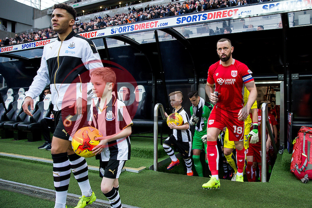 Aaron Wilbraham of Bristol City leads out his side - Rogan Thomson/JMP - 25/02/2017 - FOOTBALL - St James' Park - Newcastle, England - Newcastle United v Bristol City - Sky Bet EFL Championship.