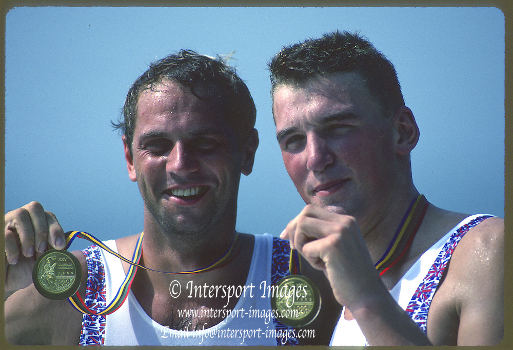 Banyoles, SPAIN, GBR M2-  [Men's pair] Bow Steve REDGRAVE and Matthew [Matt] PINSENT,  competing in the 1992 Olympic Regatta, Lake Banyoles, Barcelona, SPAIN. 92 Gold Medalist.   [Mandatory Credit: Peter Spurrier: Intersport Images]