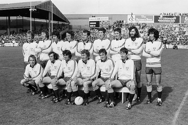 The Dublin team before the All Ireland Senior Gaelic Football Championship Final Dublin V Galway at Croke Park on the 22nd September 1974. Dublin 0-14 Galway 1-06.