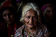 30th April 2015, Sindhupal Chowk District, Nepal. Leela Devii Bharati (86) in Bharatigaun village, Sindhupal Chowk District, on the 30th April 2015. <br /> She lived through the last major earthquake to hit Nepal 81 years ago in 1934. <br /> <br /> Sindhupalchowk District has seen around 2100 deaths as of 3rd May 2015 which is nearly a third of all fatalities recorded in Nepal from the earthquake with magnitude 7.8 that occurred near Lamjung, Nepal, 50 miles northeast of the capital Kathmandu at 06:11:26 UTC on Apr 25, 2015. The capital has seen considerable devastation including the nine-story Dharahara Tower, one of Kathmandu's landmarks built by Nepal's royal rulers as a watchtower in the 1800s and a UNESCO-recognised historical monument. It was reduced to rubble and there were reports of people trapped. Portions of historic buildings in the World Heritage gazetted site of Patan have also been destroyed as well as many buildings in the old city. <br /> <br /> PHOTOGRAPH BY AND COPYRIGHT OF SIMON DE TREY-WHITE<br /> <br /> + 91 98103 99809<br /> email: simon@simondetreywhite.com<br /> photographer in delhi
