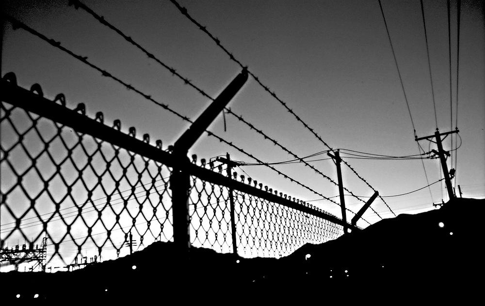 Barbwire fence B&W silhouette, Fima Camp .