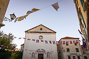 Croatian flags in the town square, Skradin, Dalmatia, Croatia