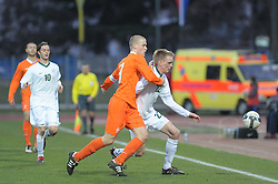 Rene Mihelic (10), Leon Crncic (22) of Slovenia during Friendly match between U-21 National teams of Slovenia and Netherland, on March 03, 2010 in Nova Gorica, Slovenia. (Photo by foto-forma/ Sportida)