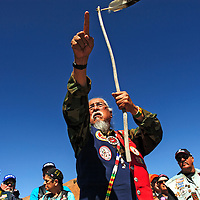 051514  Adron Gardner/Independent<br /> <br /> Larry Anderson assembles Run for the Wall participants for an Honor Dance at Red Rock Park Thursday.