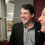 South Carolina Gamecocks football coach Will Muschamp and Athletic Director Ray Tanner share a laugh at a gathering at Williams-Brice Stadium in Columbia, S.C.