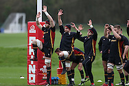 Wales capt Alun Wyn Jones (l) and Sam Warburton of Wales (2nd left)  during the Wales Rugby team training at the Vale Resort, Hensol near Cardiff, South Wales on Thursday 2nd Feb 2017.  The team are preparing for the the RBS Six nations match against Italy.  pic by  Andrew Orchard, Andrew Orchard sports photography.