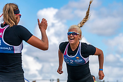 Raïsa Schoon celebrate. The Final Day of the DELA NK Beach volleyball for men and women will be played in The Hague Beach Stadium on the beach of Scheveningen on 23 July 2020 in Zaandam.