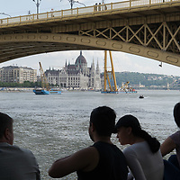 Boat crane Clark Adam arrived to help ship accident search and rescue in downtown Budapest, Hungary on June 7, 2019. ATTILA VOLGYI