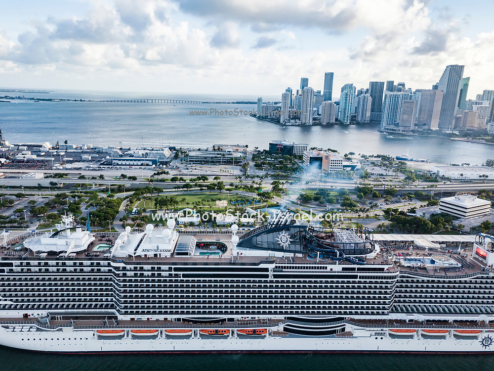 Aerial view of MSC Seaside super Cruise ship at Miami, Florida
