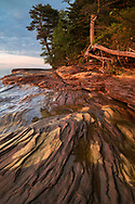 Layers of sandstone set aglow at the 'magic hour' - Pictured Rocks National Lakeshore