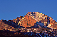 14,255 ft. Longs Peak at sunrise. Early morning light on the diamond.  Rocky Mountain National Park, Colorado.