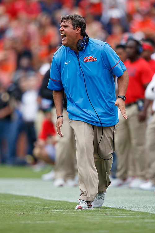 Mississippi Rebels head coach Matt Luke reacts during an NCAA football game against the Auburn Tigers, Saturday, October 7, 2017, in Auburn, AL. Auburn won 44-23. (Paul Abell via Abell Images for Chick-fil-A Peach Bowl)