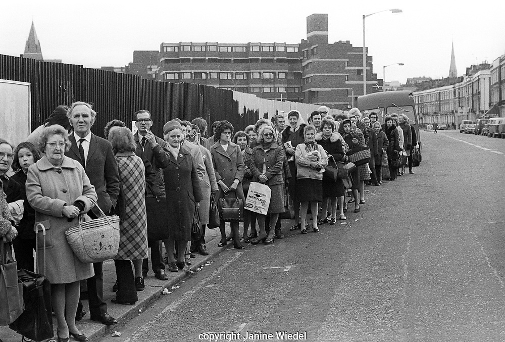 Nationwide industrial dispute with Bakers Union cause bread shortage and long queues for bread in Dec 1974 London.