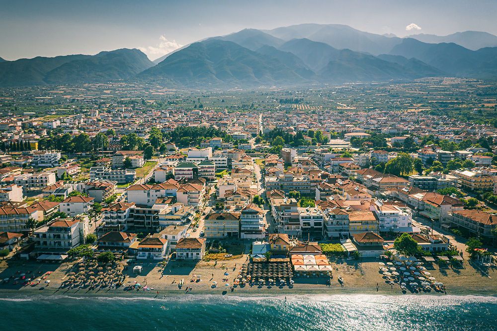 Aerial view of Leptokarya and Mount Olympus,  Greece