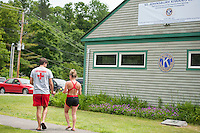 Lifeguards enjoy a BBQ lunch provided by Kiwanis volunteers in honor of the 70th anniversary celebration for the Kiwanis Pool in St. Johnsbury Vermont.  Karen Bobotas / for Kiwanis International