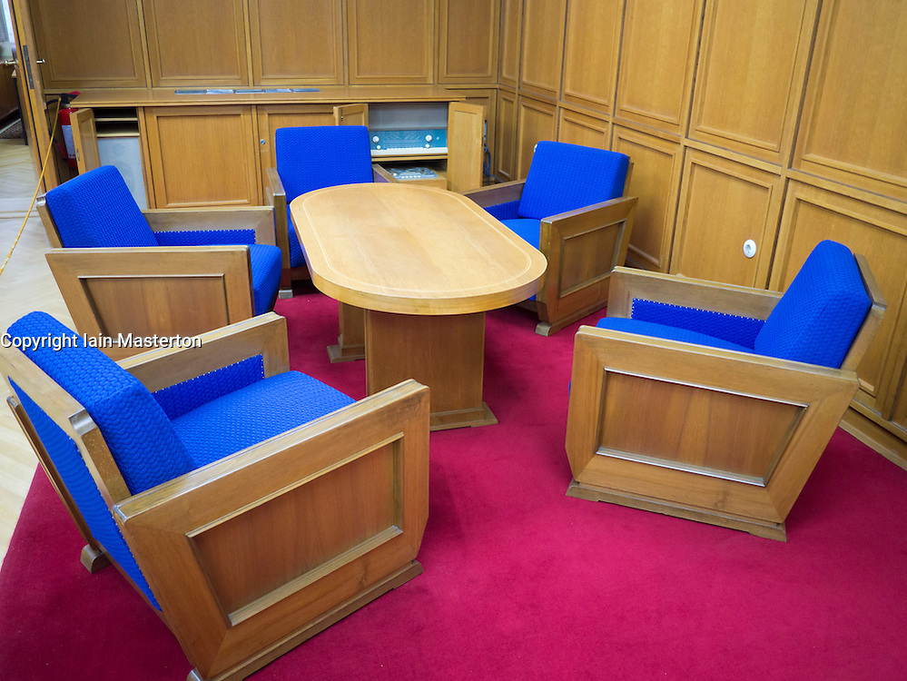conference table in office of Erich Mielke at the former STASI or state secret police headquarters now museum in Berlin Germany