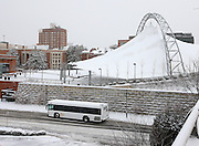 Snow covered bus transit system in Charlottesville, Va.