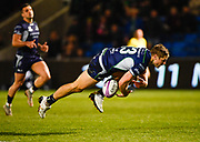 Connacht centre Kyle Godwin drops the ball under the posts for an early let off for Sale  during a European Challenge Cup Quarter Final match in Eccles, Greater Manchester, United Kingdom, Friday, March 29, 2019.  (Steve Flynn/Image of Sport)