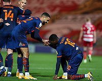 Blackpool's CJ Hamilton celebrates scoring his side's second goal with Sullay Kaikai<br /> <br /> Photographer Alex Dodd/CameraSport<br /> <br /> The EFL Sky Bet League One - Doncaster Rovers v Blackpool - Tuesday 24th November 2020 - Keepmoat Stadium - Doncaster<br /> <br /> World Copyright © 2020 CameraSport. All rights reserved. 43 Linden Ave. Countesthorpe. Leicester. England. LE8 5PG - Tel: +44 (0) 116 277 4147 - admin@camerasport.com - www.camerasport.com