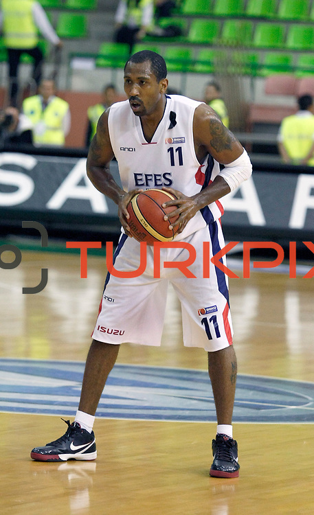 Efes Pilsen's Bootsy THORNTON during their Turkish Basketball league Play Off Final first leg match Efes Pilsen between Fenerbahce Ulker at the Ayhan Sahenk Arena in Istanbul Turkey on Thursday 20 May 2010. Photo by Aykut AKICI/TURKPIX