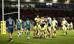 Josh Charnley of Sale Sharks celebrates with team mates after scoring a try - Mandatory by-line: Matt McNulty/JMP - 15/09/2017 - RUGBY - AJ Bell Stadium - Sale, England - Sale Sharks v London Irish - Aviva Premiership