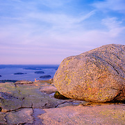 Glacial erratic boulder on the summit of Cadillac Mountain. Acadia National Park. Mount Desert Island. Maine
