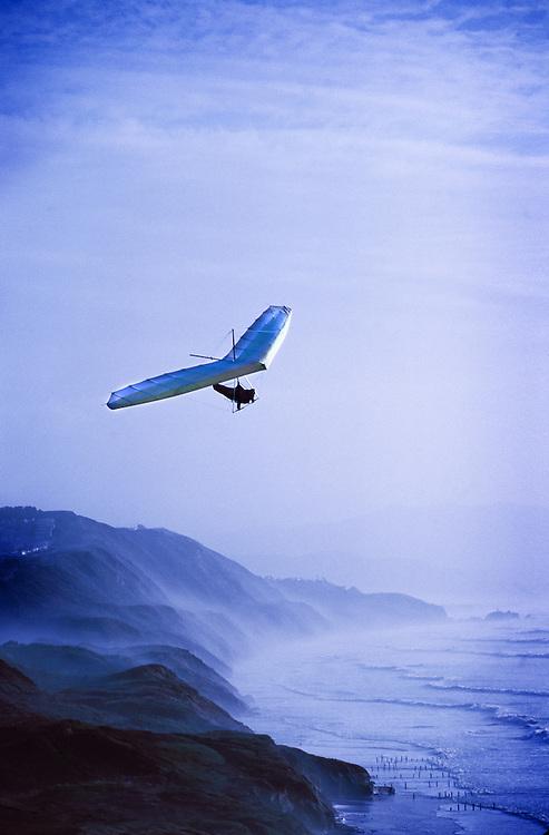 Hang gliding off the Northern California Coast, Fort Funston near San Francisco