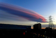 BEIJING, CHINA - MARCH 07: (CHINA OUT) <br /> <br /> A meteorolite-shaped cloud floats in the blue sky at nightfall on March 7, 2016 in Beijing, China.<br /> ©Exclusivepix Media