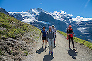 "Walk downhill from Eigergletscher train station (of the Jungfraujoch ""Top of Europe"" railway) under the north face of the Eiger (3970m / 13,020 ft elevation) to Alpiglen station in Grindelwald Valley, Canton of Bern, Switzerland, the Alps, Europe. The Eiger has the biggest north face in the Alps: 1800 vertical meters (or 5900 ft) of rock and ice. The Swiss Alps Jungfrau-Aletsch region is honored as a UNESCO World Heritage Site.The Swiss Alps Jungfrau-Aletsch region is honored as a UNESCO World Heritage Site. For licensing options, please inquire."