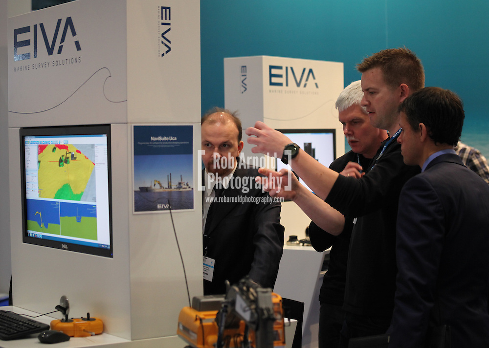 © Rob Arnold 11/03/2014. London, UK. A demonstration being conducted at the EIVA stand at Oceanology International (OI), the world's largest exhibition for marine science and technology, held at London's ExCeL Centre. The three day exhibition provides an opportunity for industry, academic and government organisations to share knowledge and promote improvements in technology and strategy used for operating, surveying, protecting and exploiting resources in the oceans of the world. Photo Credit : Rob Arnold