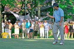 Octavio Villar comemora a vitória do XIII Aberto do Belém Novo Golf Club.  FOTO: Itamar Aguiar/Preview.com