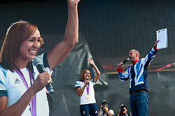 © Licensed to London News Pictures. 05/08/2012. London, UK.     Team GB gold medal winning heptathlete Jessica Ennis on-stage at BT London Live, Hyde Park. Jessica won the golda medal yesterday. Photo credit : Richard Isaac/LNP