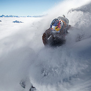 Jeremie Heitz above the clouds at Pointe Hellbronner Italy.