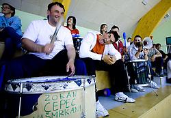 Fans of Kranjska Gora at finals match of Slovenian 1st Women league between KK Hit Kranjska Gora and ZKK Merkur Celje, on May 14, 2009, in Arena Vitranc, Kranjska Gora, Slovenia. Merkur Celje won the third time and became Slovenian National Champion. (Photo by Vid Ponikvar / Sportida)