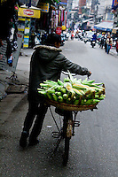 A street v endor pushes her bicycle with a basket of sweet corn on the back.