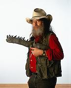 Paleontologist, Author Bob Bakker with Allosaurus Jaw.