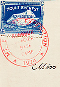 British Everest Expedition 1924 stamp postcard, produced by expedition film-maker J.B.L Noel, hand carried to Darjeeling for posting, Rongbuk , Tibet