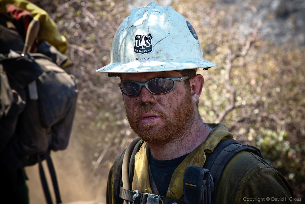 Andrew Kirksey of the Ukonom Hotshot crew during the La Brea fire in the Los Padres National Forest.