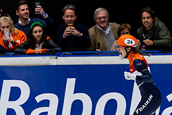 13-01-2019 NED: ISU European Short Track Championships 2019 day 3, Dordrecht<br /> Suzanne Schulting of Netherlands reacts after finishing first in the Ladies 3000m super final during the ISU European Short Track Speed Skating Championships