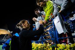 February 19, 2019 - Dubai, ARAB EMIRATES - Karolina Pliskova of the Czech Republic signs autographs after her second-round match at the 2019 Dubai Duty Free Tennis Championships WTA Premier 5 tennis tournament (Credit Image: © AFP7 via ZUMA Wire)