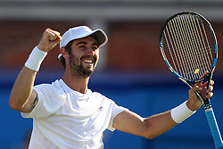 Australia's Jordan Thompson celebrates beating Great Britain's Andy Murray during day two of the 2017 AEGON Championships at The Queen's Club, London.