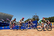 Participants during the elite ladies race at the Discovery Triathlon World Cup Cape Town 2017. Image by Greg Beadle