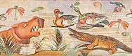 Nile Scene Roman Mosaic ( Scena Nileotica )  from Pompei Archaeological Site. Naples Archaeological Museum inv 9990 .<br /> <br /> If you prefer to buy from our ALAMY PHOTO LIBRARY  Collection visit : https://www.alamy.com/portfolio/paul-williams-funkystock/pompeii.html<br /> Visit our CLASSICAL WORLD HISTORIC SITES PHOTO COLLECTIONS for more photos to buy as buy as wall art prints https://funkystock.photoshelter.com/gallery-collection/Classical-Era-Historic-Sites-Archaeological-Sites-Pictures-Images/C0000g4bSGiDL9rw