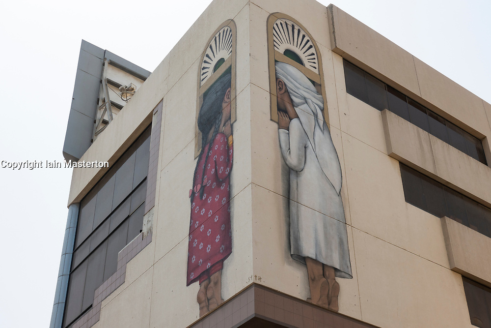 Street art on buildings along 2 December Street in Satwa District of Dubai, United Arab Emirates, UAE