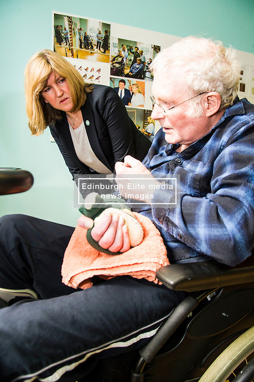 Pictured: Alison Johnstone met Bob Wigley who was enjoying the physiotheraphy room<br /> <br /> Scottish Greens Health and social care spokeswoman Alison Johnstone took the opportunity e to meet staff and visitors at Leuchie House respite centre in North Berwick today.<br /> <br /> Ger Harley   EEm 26 April 2016