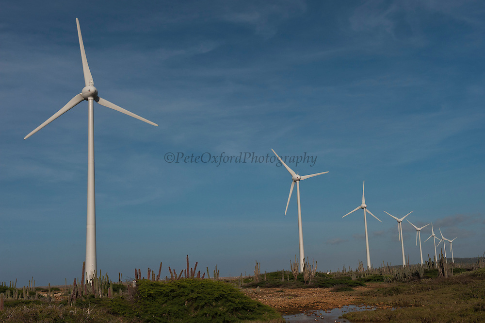Wind Turbines Bonaire Wind Farm<br /> They will be the first Caribbean island to run on 100% sustainable energy by 2015<br /> North Coast, BONAIRE, Netherlands Antilles, Caribbean