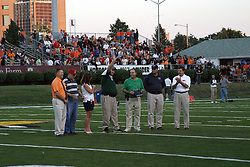 31 Aug 2007: Matt Adams receives and award from the Intercity Athletic Directors.