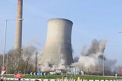 © Licensed to London News Pictures. 11/03/2012. Kent, UK. Richborough Power Station Towers pictured before the demolition today, 11 March 2012. The former Richborough power station site has not been used since its closure in 1996 .Three cooling towers and a giant chimney which have dominated the east Kent skyline for 50 years will be destroyed. Photo credit : Grant Falvey/LNP